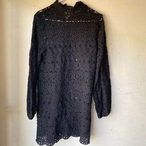 Zara black lace mini dress long sleeve high collar